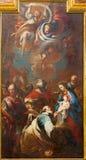 TURIN ITALIEN - MARS 13, 2017: Målningen av tre de tre vise männen i kyrkliga Chiesa di Santa Teresa vid G Battista Mari Arkivfoto