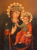 TURIN ITALIEN - MARS 15, 2017: Symbolen av Madonna i kyrkliga Chiesa di San Francesco da Paola Royaltyfri Foto