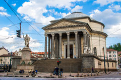 TURIN, ITALY - APRIL 26, 2016; The church of Gran Madre di Dio Royalty Free Stock Image