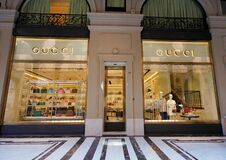 TURIN, ITALY - AUGUST 18, 2021: Facade of GUCCI store on shopping mall gallery, Turin, Italy
