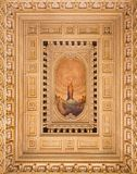 TURIN, ITALY: The ceiling fresco of Immaculate Conception and Heart of Jesus in side chapel of church Chiesa di Santo Tomaso royalty free stock images