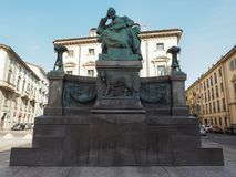 Mazzini monument in Turin. TURIN, ITALY - CIRCA AUGUST 2017: Giuseppe Mazzini statue with symbols of the Roman republic, Capitoline wolf with twins Romulus and Stock Image