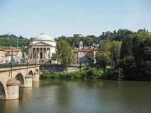 Ponte Vittorio bridge and Gran Madre church in Turin Royalty Free Stock Photography