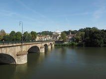 Ponte Vittorio bridge and Gran Madre church in Turin Stock Photo