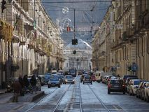 Via Po in Turin. TURIN, ITALY - CIRCA JANUARY 2018: View of Via Po central street Royalty Free Stock Image