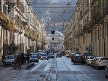 Via Po in Turin. TURIN, ITALY - CIRCA JANUARY 2018: View of Via Po central street Stock Photography
