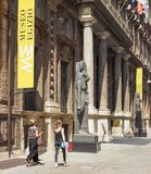 Museo Egizio (Egyptian Museum) in Turin. TURIN, ITALY - CIRCA JULY 2017: Museo Egizio (meaning Egyptian Museum) facade with replica statues of Goddess Sekhmet Royalty Free Stock Photos