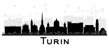 Turin Italy City Skyline Silhouette with Black Buildings Isolate Stock Photo