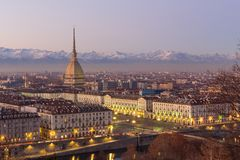 Turin, Italy: cityscape at sunrise with details of the Mole Anto Royalty Free Stock Photo