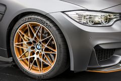 TURIN, ITALY - JUNE 9, 2016 A grey BMW M4 GTS on display at Turin open air car show. A grey BMW M4 GTS on display at Turin open air car show Royalty Free Stock Image