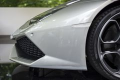 TURIN, ITALY - JUNE 9, 2016 A Lamborghini Huracan_Spider on display at Turin open air car show. A Lamborghini Huracan_Spider on display at Turin open air car Royalty Free Stock Photos