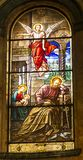 Turin, Italy, 27 June 2019: Interior of the Salesian Church of Our Lady Help of Christians in Turin. Colorful stained glass. Turin, Italy, 27 June 2019: Interior royalty free stock photo