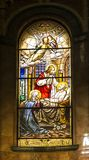 Turin, Italy, 27 June 2019: Interior of the Salesian Church of Our Lady Help of Christians in Turin. Colorful stained glass. Turin, Italy, 27 June 2019: Interior stock photo