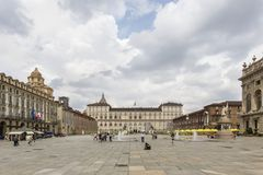 Turin, Italy- June 12, 2018: Piazza Castello, central baroque square in Turin, Italy. Tourists visiting Piazza Castello, the centr. Al baroque square stock images