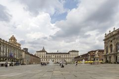 Turin, Italy- June 12, 2018: Piazza Castello, central baroque square in Turin, Italy. Tourists visiting Piazza Castello, the centr. Al baroque square stock photo