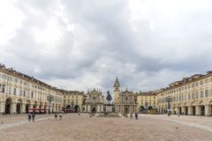 Turin, Italy -June 12, 2018 :Piazza San Carlo square and twin churches of Santa Cristina and San Carlo Borromeo in the Old Town ce stock image