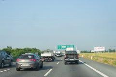 Traffic jam on italian highway stock image