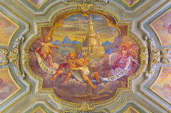 TURIN, ITALY - MA`RCH 14, 2017: The ceiling fresco of angels with marianic inscription of litany `Tower of Ivory` Stock Photography