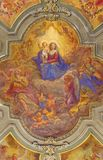 TURIN, ITALY - MARCH 14, 2017: The ceiling fresco of Madonna among the angels in church Chiesa di San Francesco. Giovanni Andrea Casella 1619 - 1856 royalty free stock photos
