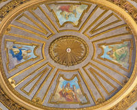 TURIN, ITALY - MARCH 14, 2017: The cupola with the fresco of virtues in church Basilica del Corpus Christi. By Nicola Arduino 1948 royalty free stock photography
