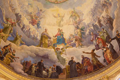 TURIN, ITALY - MARCH 15, 2017: The detail of fresco Mary Help of Christians in cupola of church Basilica Maria Ausiliatrice Royalty Free Stock Photography