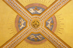TURIN, ITALY - MARCH 15, 2017: The detail of symbolic fresco on the ceiling in church Basilica Maria Ausiliatrice by unknown arti. St of 19. cent Stock Photos