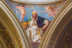 TURIN, ITALY - MARCH 16, 2017: The fresco of St. Augustine in cupola of church Chiesa di San Massimo Paolo Emilio Volgari Royalty Free Stock Photos