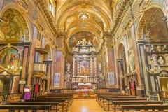 TURIN, ITALY - MARCH 15, 2017: The nave of baroque church Chiesa di San Francesco da Paola Stock Images