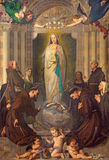 TURIN, ITALY - MARCH 13, 2017: The Painting of Immaculate Conception of Virgin Mary among the saints stock photos