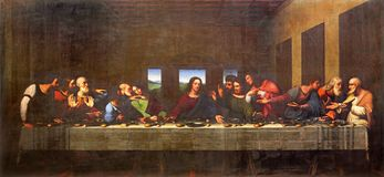 TURIN, ITALY - MARCH 13, 2017: The painting of Last Supper in Duomo after Leonardo da Vinci by Vercellese Luigi Cagna 1836.  stock image