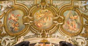 TURIN, ITALY - MARCH 15, 2017: The symbolic fresco of angels with the cross in church Chiesa di San Francesco da Paola. By unknown artist of 17. cent Royalty Free Stock Photography