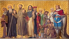 TURIN, ITALY - MARCH 15, 2017: The symbolic fresco of holy Confessor with the in church Chiesa di San Dalmazzo stock images