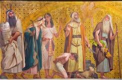 TURIN, ITALY - MARCH 15, 2017: The symbolic fresco of patriarchs Moses, Joseph, Abraham and Josue in church Chiesa di San Dalmazzo. By Enrico Reffo and Luigi Stock Images