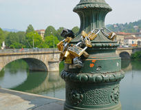 Love padlocks on embankment Royalty Free Stock Image