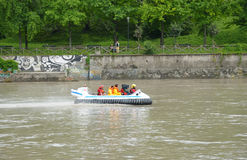 Rescue authorities move against flow of river Po Royalty Free Stock Photos