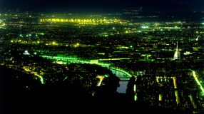 Turin Italy night aerial shot Royalty Free Stock Photo