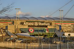 Turin, Italy, Piedmont - March 8 2018 at 18:15 towards sunset. The Allianz Stadium in Turin. Former Juventus stadium, main entrance side with the typical white royalty free stock image