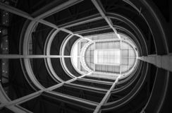 Turin, Italy. Spiral ramp leading to the rooftop test track at the old Fiat factory, built in the 1920s. Turin, Italy. Spiral ramp leading to the rooftop test stock images