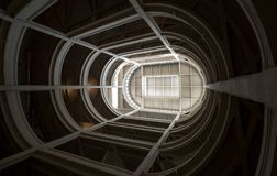 Turin, Italy. Spiral ramp leading to the rooftop test track at the old Fiat factory, built in the 1920s. Turin, Italy. Spiral ramp leading to the rooftop test stock image