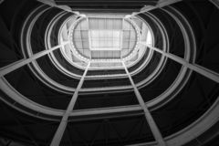 Turin, Italy. Spiral ramp leading to the rooftop test track at the old Fiat factory, built in the 1920s. Turin, Italy. Spiral ramp leading to the rooftop test royalty free stock images