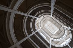 Turin, Italy. Spiral ramp leading to the rooftop test track at the old Fiat factory, built in the 1920s. Turin, Italy. Spiral ramp leading to the rooftop test royalty free stock photography