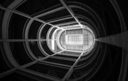 Turin, Italy. Spiral ramp leading to the rooftop test track at the old Fiat factory, built in the 1920s. Turin, Italy. Spiral ramp leading to the rooftop test stock photo