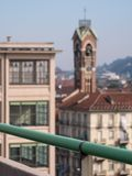 View from the old Fiat Factory building in Turin Italy built in the 1920s, recently renovated by Renzo Piano. Turin, Italy. View from the roof of the old Fiat stock photos