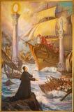 Turin - la peinture des rêves glorieux de ` de Sogno-Dû-Colonne-Don-Bosco de ` de Don Bosco ou des deux piliers Images libres de droits