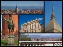 Turin landmarks collage Royalty Free Stock Photos