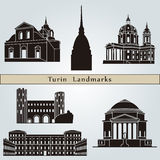 Turin landmarks and monuments isolated Royalty Free Stock Images