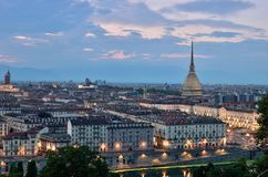 Turin landscape in the evening. Turin landscape taken from Monte dei Cappuccini Royalty Free Stock Image