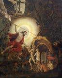 Turin - le paintig du Christ ressuscité dans le vide avec Adam et Eva et patriarches dans l'église Marienkirche Image stock