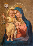 Turin - målningen av vår dam av Mount Carmel i den kyrkliga Chiesa dellaen Madonna del Carmine fotografering för bildbyråer