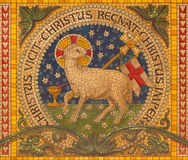 Turin - The mosaic of Lamb of God on the altar of little chapel Capella Pinardi - the first chapel of Don Bosco. TURIN, ITALY - MARCH 15, 2017: The mosaic of Royalty Free Stock Photo